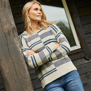 Niko Intarsia Stripe Jumper Chalk