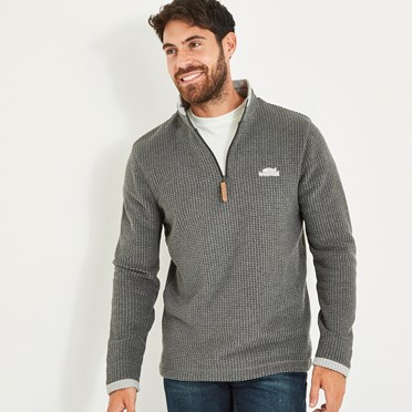 Newark 1/4 Zip Grid Fleece Sweatshirt Washed Black
