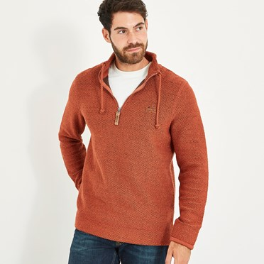Skipper 1/4 Zip Classic Macaroni Sweatshirt Brick Orange