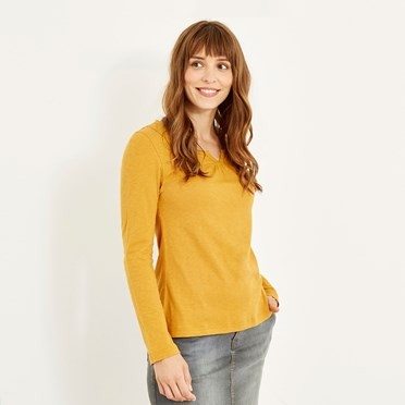 Walkabout Slub Cotton T-Shirt Saffron