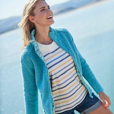 Damla Full Zip Macaroni Sweatshirt Aqua Marine