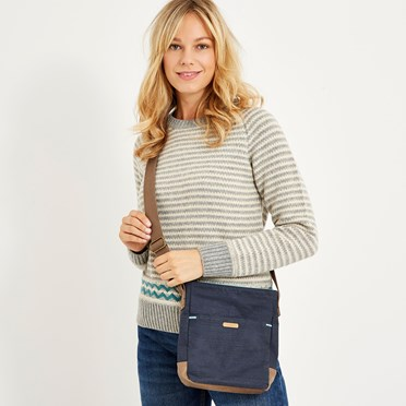 Betti Solid Slub Cross Body Bag Dark Navy