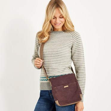 Betti Solid Slub Cross Body Bag Mulled Wine