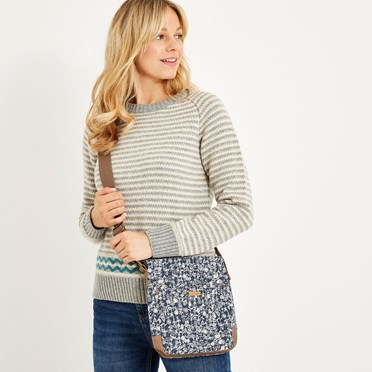 Amira Printed Slub Cross Body Bag Dark Navy