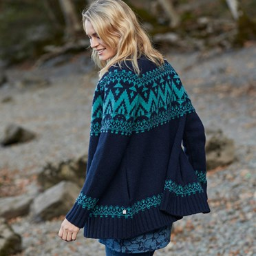 Saffi Lambswool Fairisle Cardigan Dark Navy