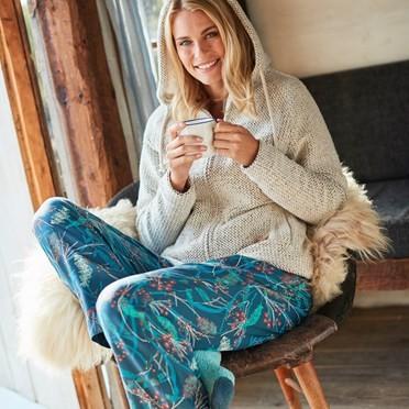 Lottie Printed Loungewear Pant Deep Sea Blue