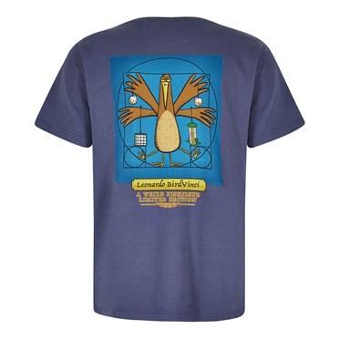 Bird Vinci Artist T-Shirt Blue Indigo
