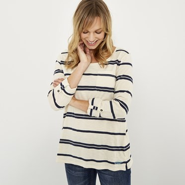 Chrissy Striped Cotton T-Shirt Dark Navy