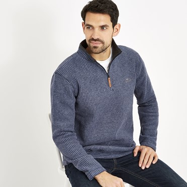 Newark 1/4 Zip Grid Fleece Sweatshirt Dark Navy