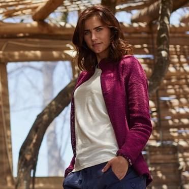 Holly Full Zip Classic Macaroni Sweatshirt Purple Potion