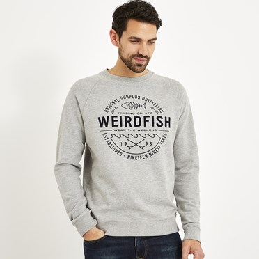Malin Graphic Print Crew Neck Jumper Grey Marl