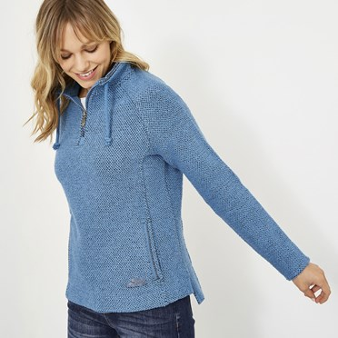 Geranium 1/4 Zip Classic Macaroni Sweatshirt Cool Blue