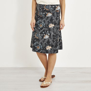 Malmo Printed Jersey Skirt Washed Black