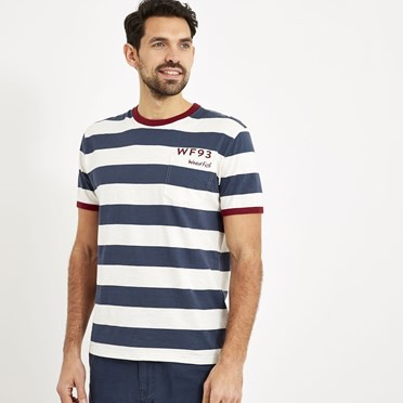 Walt Striped Slub T-Shirt Dark Navy