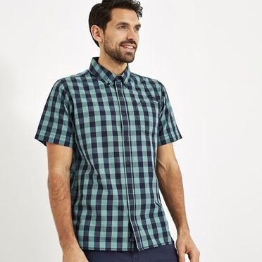 Corrib Gingham Short Sleeve Shirt Mineral Blue