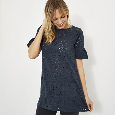 Kenza Embroidered Jersey Tunic Dark Navy