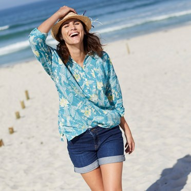 Georgina Printed Cotton Shirt Viridis