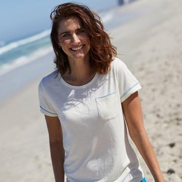Tenby Slub Cotton T-Shirt  Light Cream