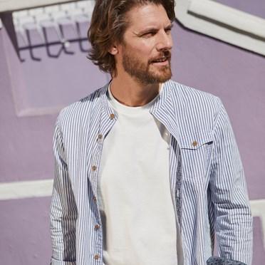 Ruan Stripe Long Sleeve Shirt Dark Navy