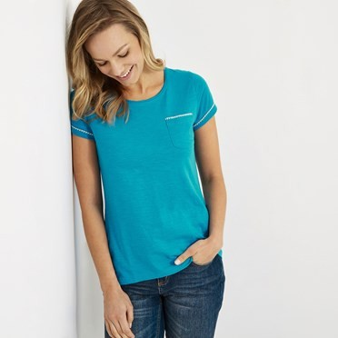 Tenby Slub Cotton T-Shirt  Lagoon Blue