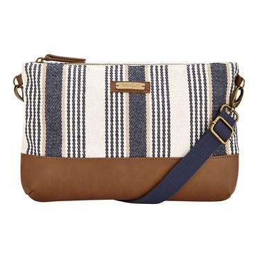 Anika Woven Striped Cotton Cross Body Bag Dark Navy