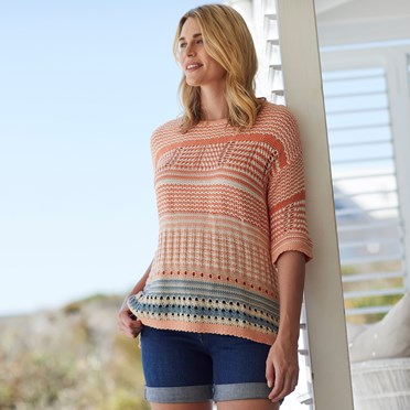 Russo  Striped Cotton Jumper Cantaloupe