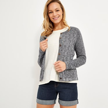 Tomlin Twisted Cotton Cardigan Dark Navy