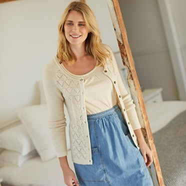 Tomlin Twisted Cotton Cardigan Chalk
