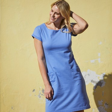 Talia Plain Jersey Dress Cornflower Marl