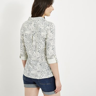 Ginny Printed Cotton Jersey Shirt Light Cream