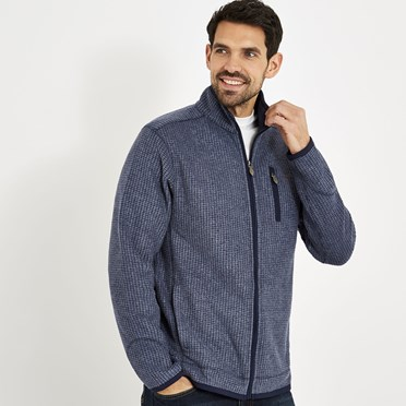 Ross Full Zip Grid Fleece Dark Navy