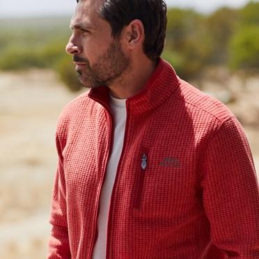 Ross Full Zip Grid Fleece Dark Red