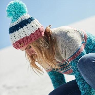 Kathy Block Stripe Bobble Hat Deep Sea Blue