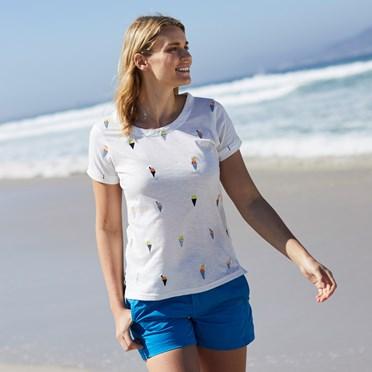 Miah Slub Cotton Embroidered T-Shirt Light Cream