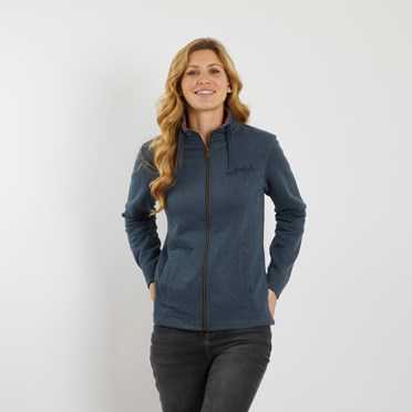 Marley Full Zip Print Trim Sweatshirt Dark Navy