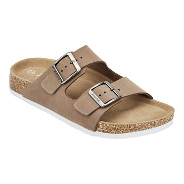 Kelli Leather Two Strap Sandal Taupe