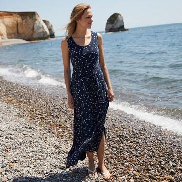 Melina Printed Maxi Dress Maritime Blue