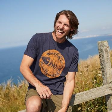 Woodcut Branded T-Shirt Navy Marl