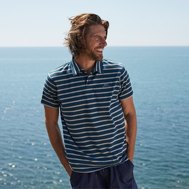 Trippier Branded Striped Polo Deep Sea Blue Marl