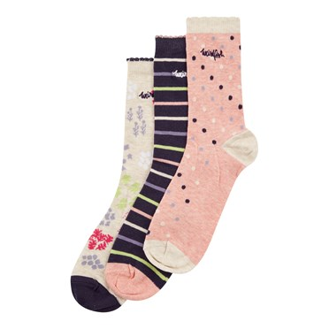 Parade Patterned Sock 3 Pack Chalk
