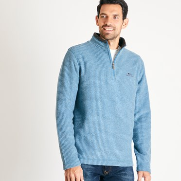 Newark 1/4 Zip Grid Fleece Sweatshirt Deep Sea Blue