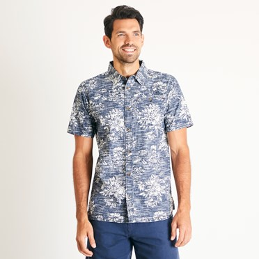 Florian Patterned Short Sleeve Shirt Navy