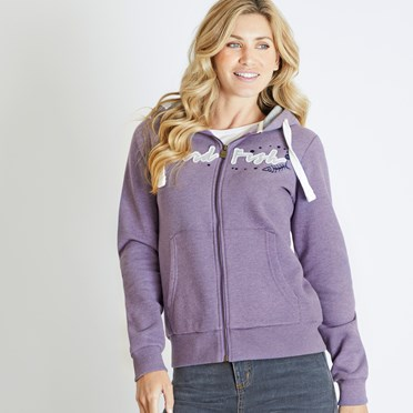 Corinne Branded Full Zip Hoodie Dewberry
