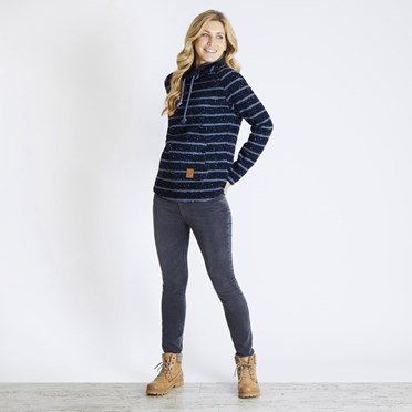 Elliot Striped Funnel Neck Fleece Dark Navy