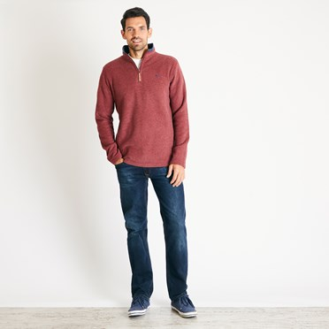 Newark 1/4 Zip Grid Fleece Sweatshirt Henna
