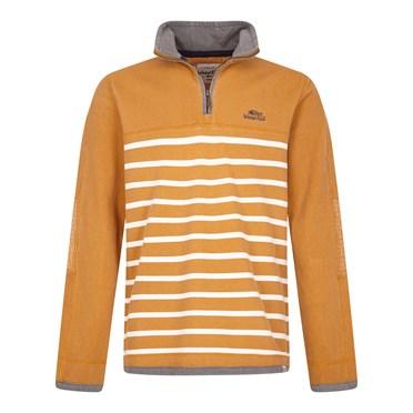 Pemberton 1/4 Zip Striped Pique Sweatshirt Saffron