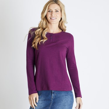 Mae Long Sleeve Cotton T-Shirt Purple Potion