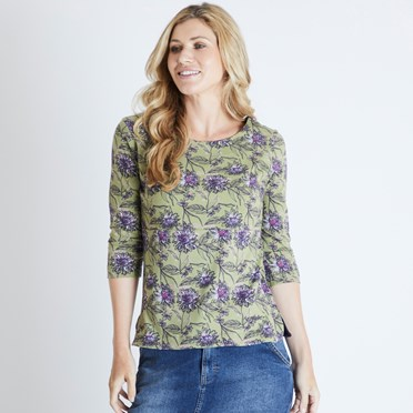 Pinto Printed Jersey T-Shirt Pear