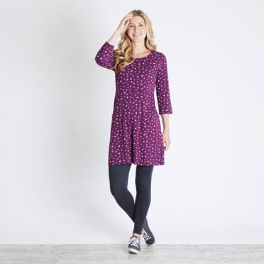 Raven Printed Cotton Jersey Tunic Purple Potion