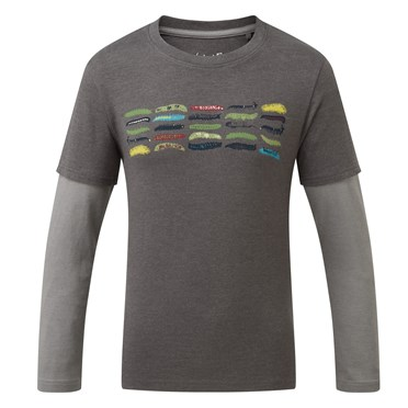 Caterpillars Long Sleeved Graphic T-Shirt Gunmetal Marl
